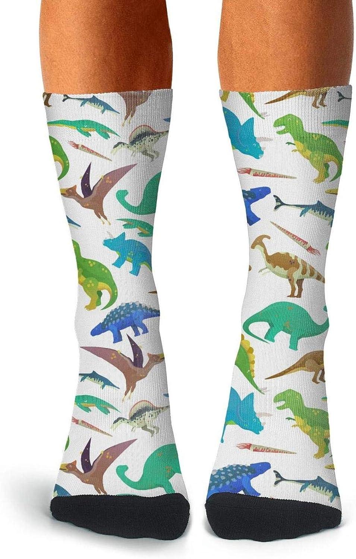 Adult White T Rex Dinosaur Bones Socks Running Crew Knee High Socks