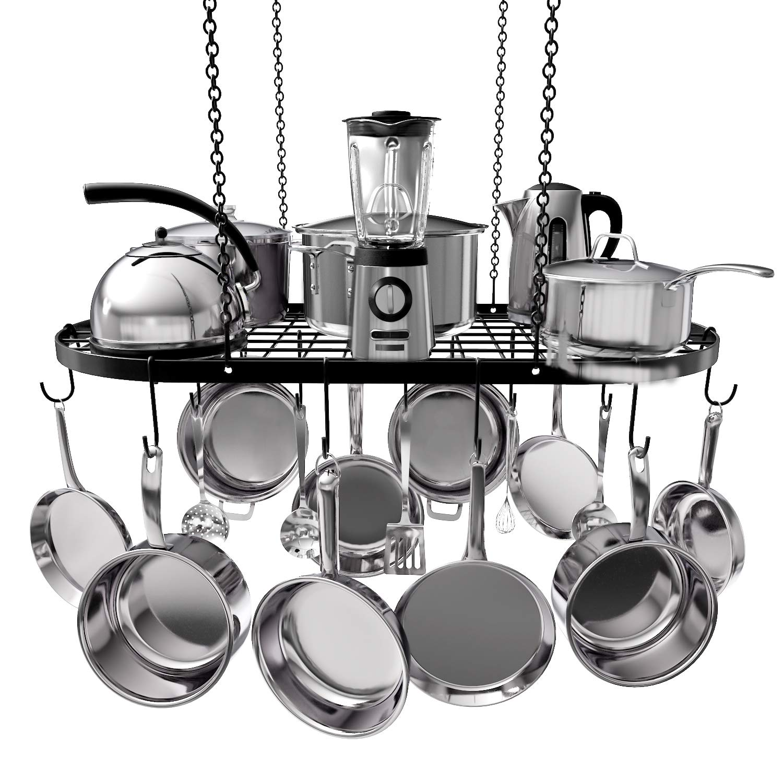 VDOMUS Pot Rack Ceiling Mount Cookware Rack Hanging Hanger Organizer with Hooks (33''x17'')