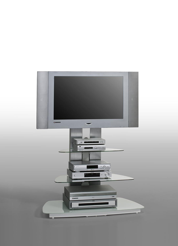 Abmessungen BxHxT: 90 x 128,8 x 54,3 cm MAJA-M/öbel 1618 9442 TV-Rack Metall Alu Schwarzglas