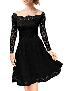 8a4cc3f7c88e NALATI Women Summer Dress Vintage Floral Lace Off-Shoulder Boat Neck Long  Sleeves Cocktail…