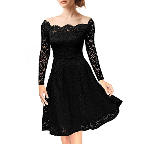 NALATI Womens Vintage Floral Lace Off-Shoulder Long Sleeves Boat Neck Cocktail Party Swing Dress