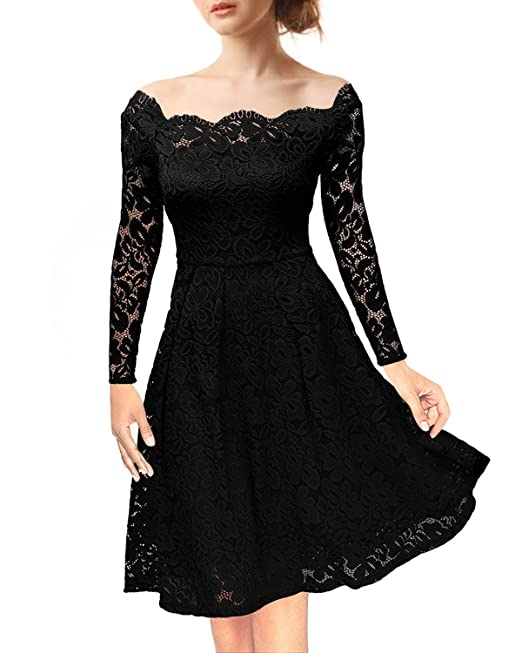 Nalati Mujeres Vintage Floral de Encaje Fuera del Hombro de Manga Larga Cocktail Party Swing Dress