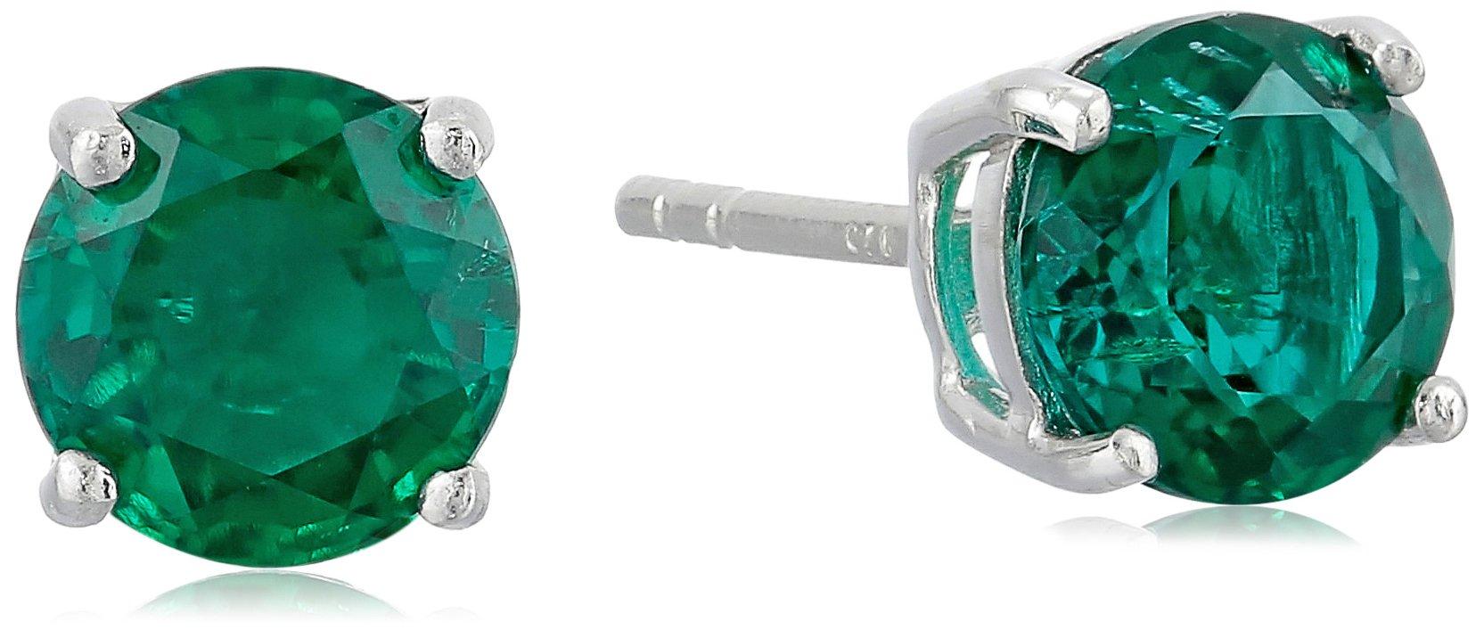 Sterling Silver 7 mm Gemstone Round Stud Earrings,Green