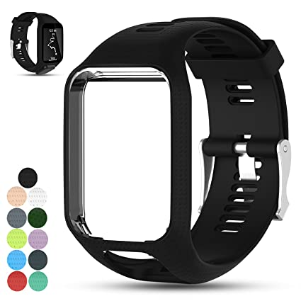 Feskio Accessory Replacement Soft Silicone Gel Watch Band Wristband Strap Sport Bracelet for Tomtom Runner 2 / Runner 3 / Spark 3 / Adventurer/Golfer ...