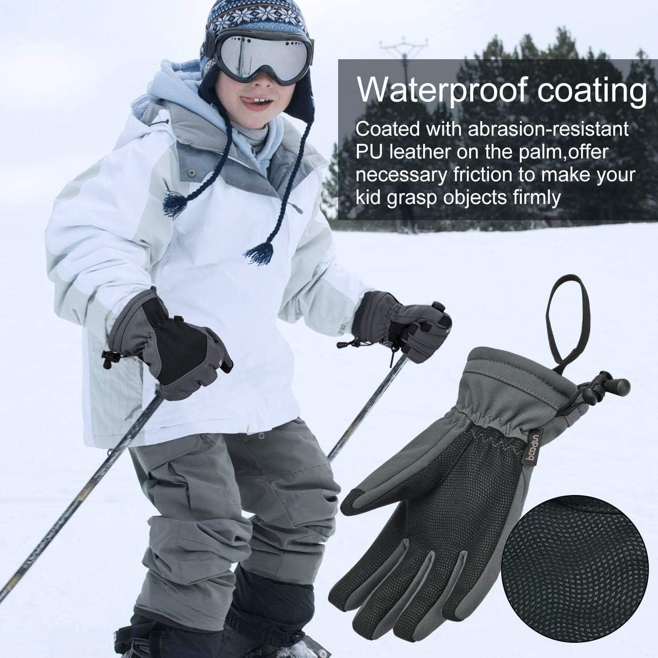 Arcweg Gants de Ski pour Enfants et Adultes Gants dhiver imperm/éables doubl/és de Peluche