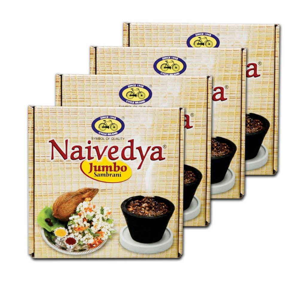 Cycle Pure Om Shanthi Naivedya Jumbo Cup Sambrani Pack of Four (4 Big Cups  in Each Pack)