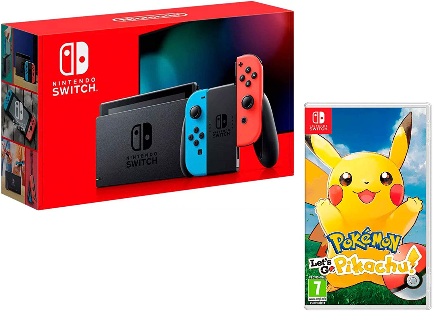 Nintendo Switch 32Gb Neon-Rot/Neon-Blau + Pokémon: Let´s Go, Pikachu!: Amazon.es: Videojuegos
