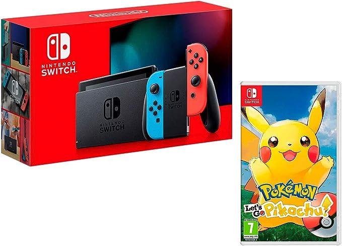 Nintendo Switch 32Gb Neon-Rot/Neon-Blau + Pokémon: Let´s Go, Pikachu!: Amazon.es: Videojuegos