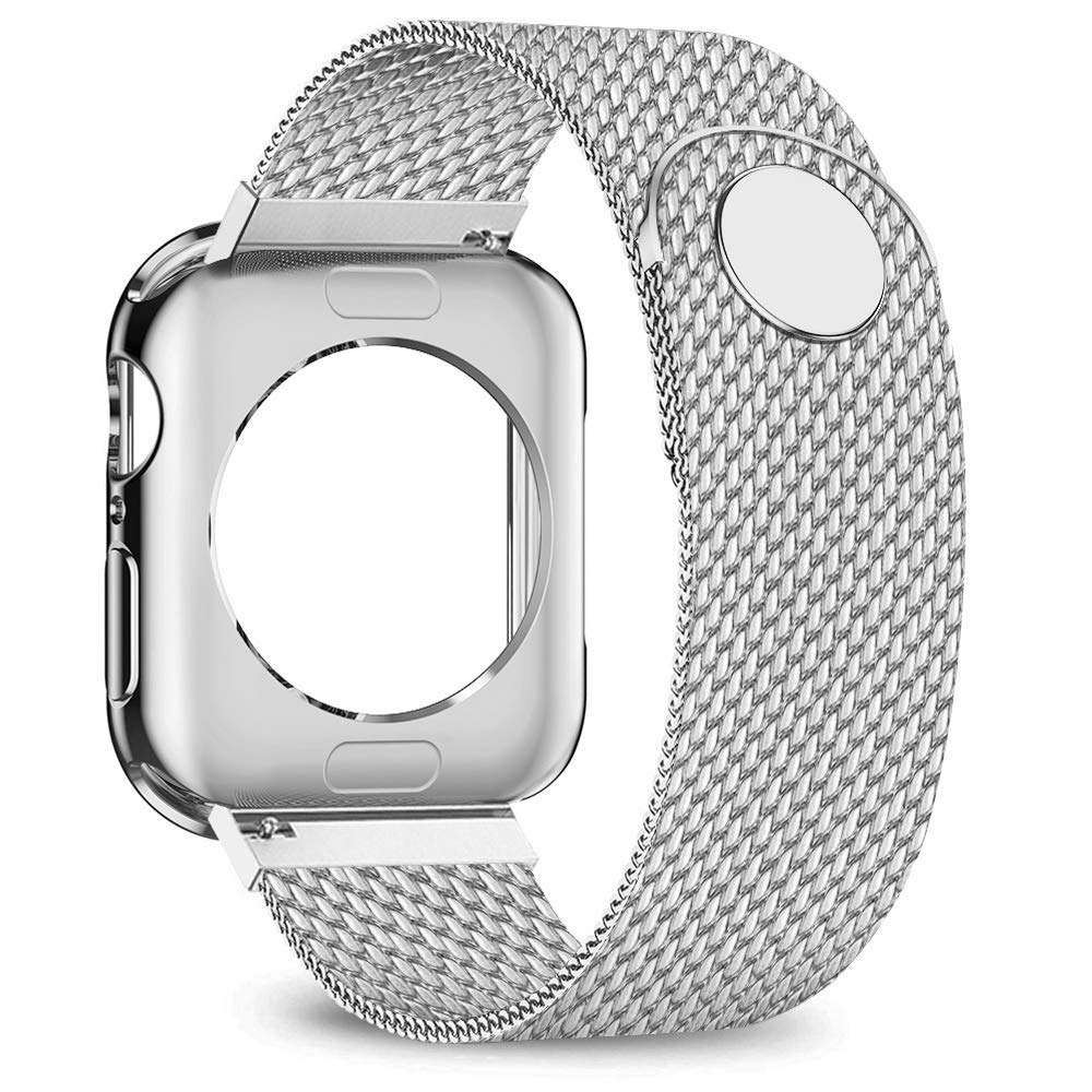 jwacct Compatible for Apple Watch Band with Screen Protector 38mm 40mm 42mm 44mm, Soft TPU Frame Case Cover Bumper Compatible for iwatch Series 1/2/3/4/5 Sliver by jwacct