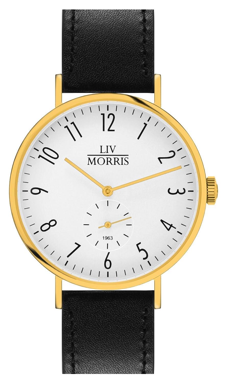 LIV MORRIS 1963 CALYPSO goldene Bauhaus-Automatik-Uhr 41mm Herren Automatikuhr massiv Edelstahl vergoldet Saphirglas