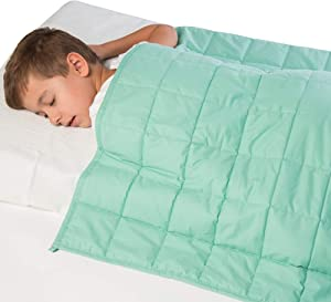 """Calming 7 lbs Waterproof Weighted Blanket for Kids - 41"""" x 60"""" Children Heavy Blanket for a Child Between 60-80 lbs - Kid Comfort Sensory Blankets for Boys and Girls"""