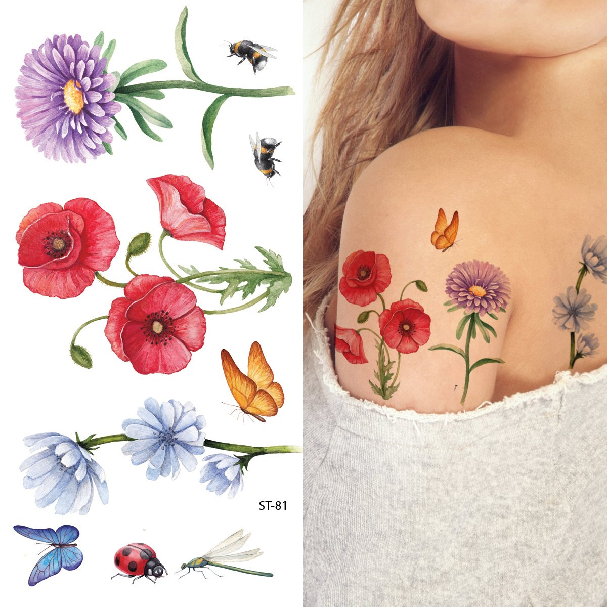 Tattify colorful flower temporary tattoo pack for Fake tattoos amazon