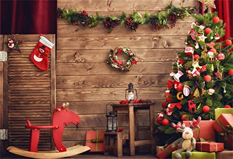 7x10 FT Vinyl Photography Background Backdrops,Rustic Wooden Backdrop December Old Christmas Noel Time Theme Ribbon Print Background for Child Baby Shower Photo Studio Prop Photobooth Photoshoot
