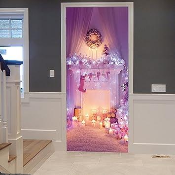 3D Autocollants De Porte Brillant Et Romantique Porte Stickers Muraux Pour  Filles Chambre Princesse Chambre Rose