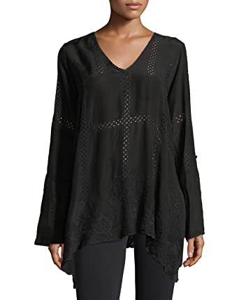 3d76a337f33439 Johnny Was Women's Cage Flare Long-Sleeve Tunic Top in Black (X-Small