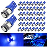 Boodled 50-Pack 194 192 Blue LED Bulb 12V,120LM 6000k Car Interior and Exterior T10 5SMD 5050 Chips Replacement For W5W…