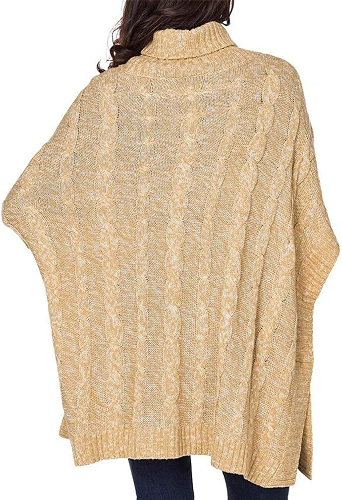 Cromoncent Womens Poncho High Neck Pocket Button Irregular Casual Jumper Sweaters