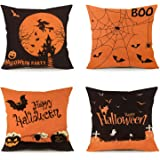 FUNPENY Halloween Decoration, Set of 4 Halloween Pillow Covers 18 x 18 Inch Spirder Web Jack-O-Lantern Cushion Covers…