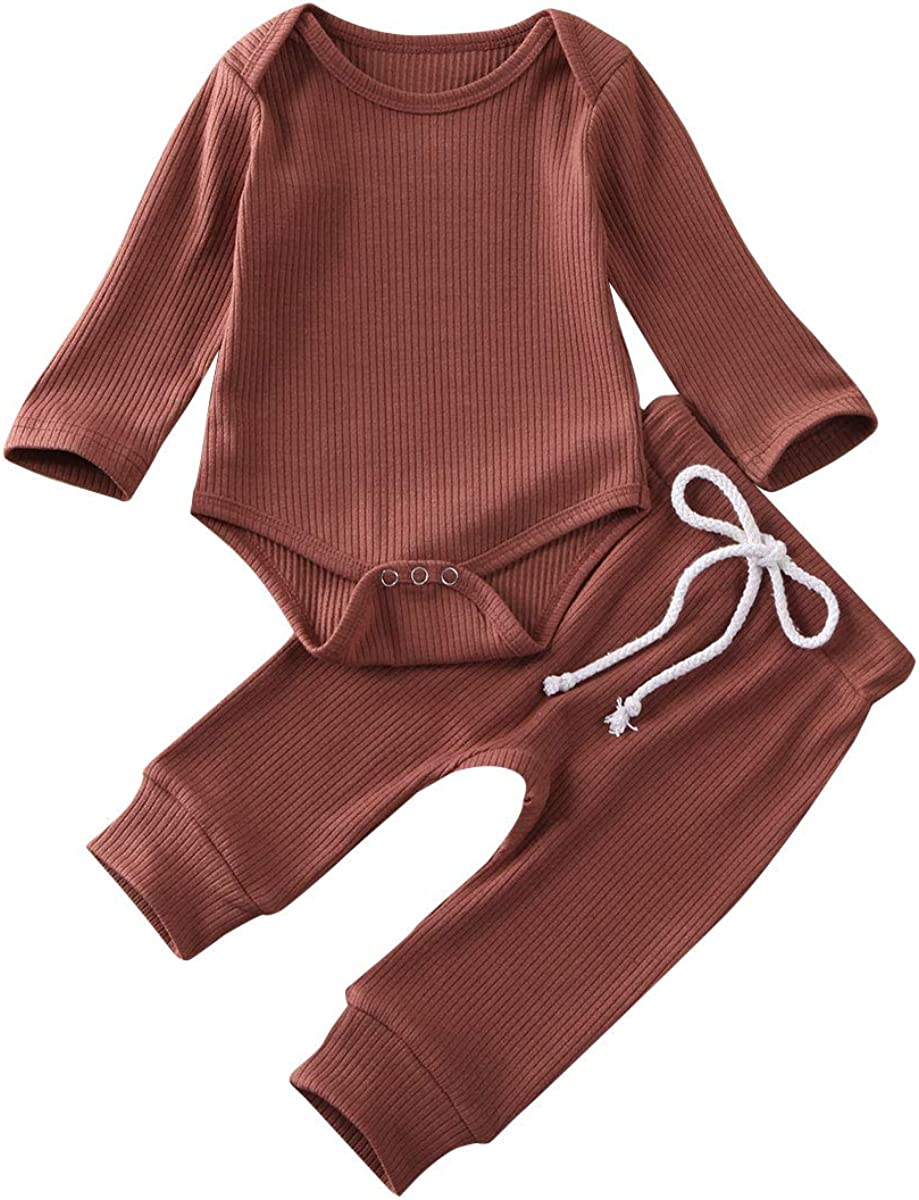Madjtlqy Baby Clothes Girl Boy Long Sleeve Romper Jumpsuit Pants Set Infant Knitted Bodysuit Onesies 2pcs Outfits