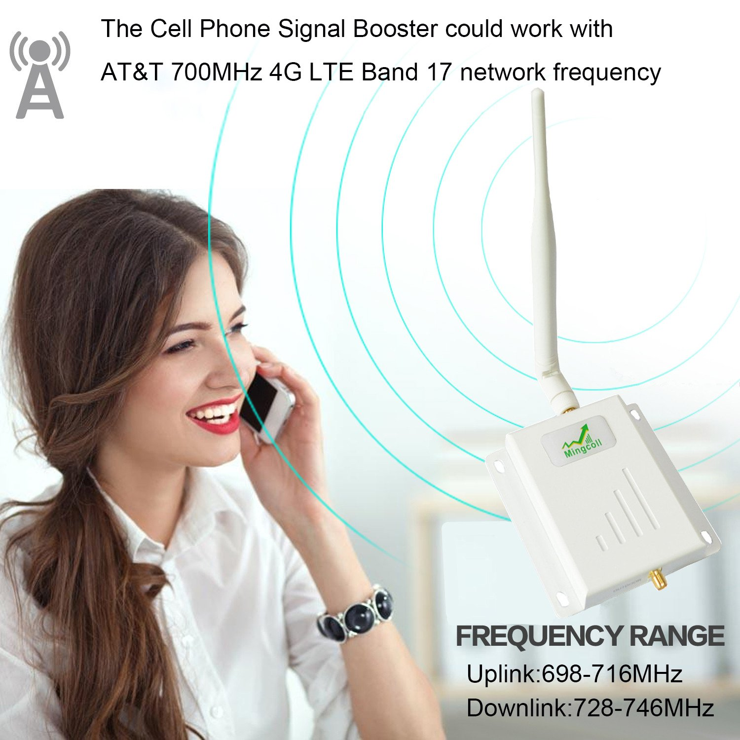 Amazon.com: Cell Phone Signal Booster at&T T-Mobile 700MHz Band 12/17 Cell Signal Amplifier Mingcoll High Gain 4G LTE Mobile Cellphone Signal Repeater ...