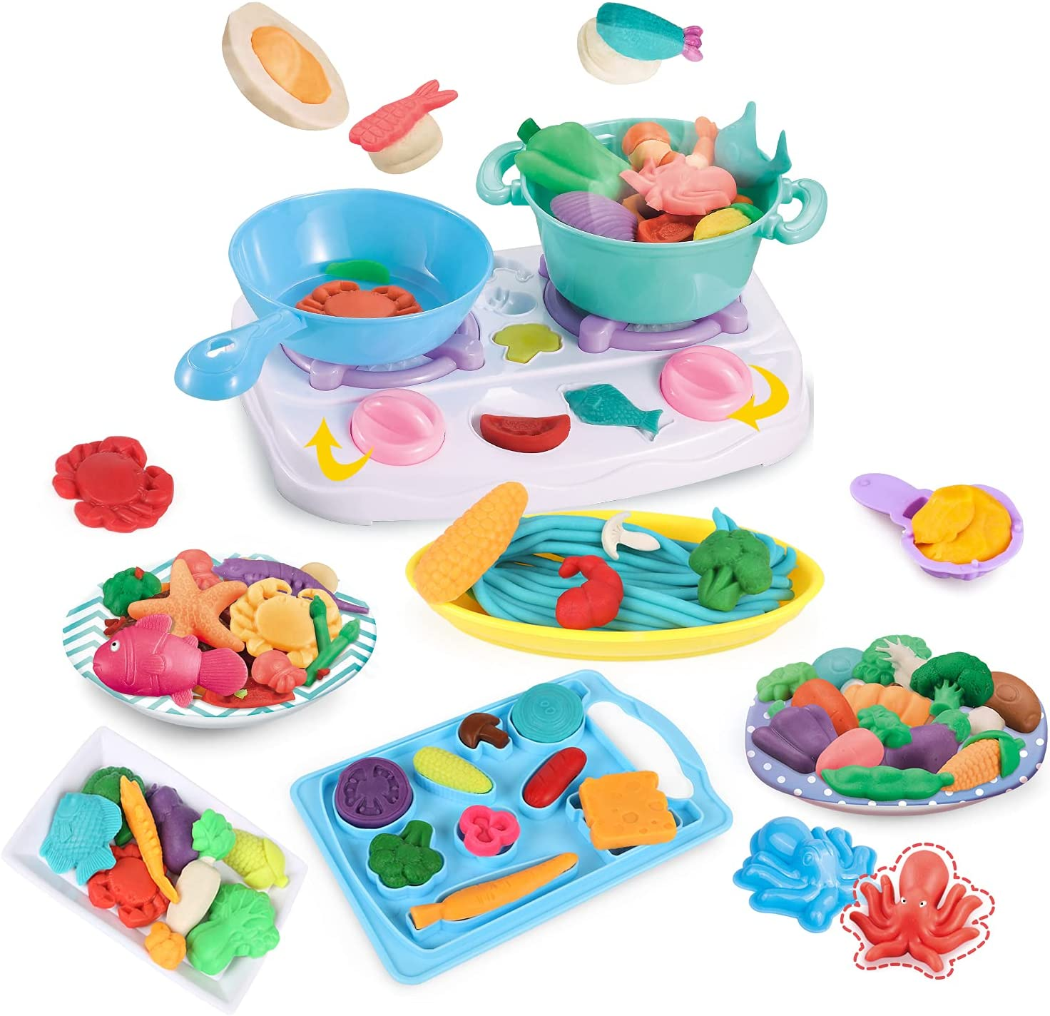 Modeling Playdough Stovetop Tools,Kitchen Creations,Multi Colors Accessories,Pretend Play Food Set,Kids Gift Age 3+ ,Without Non-Toxic Compound