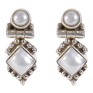 b388c79fd Silverwala 925-92.5 Sterling Silver Pearl, Ruby, Cubic Zirconia, Onyx,  Emerald, Turquoise, Stone Fashion Stud Earring drops danglers for Women and  GirlS ...