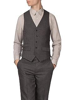 e78702eb44190 HARRY BROWN Grey Check Waistcoat  Amazon.co.uk  Clothing