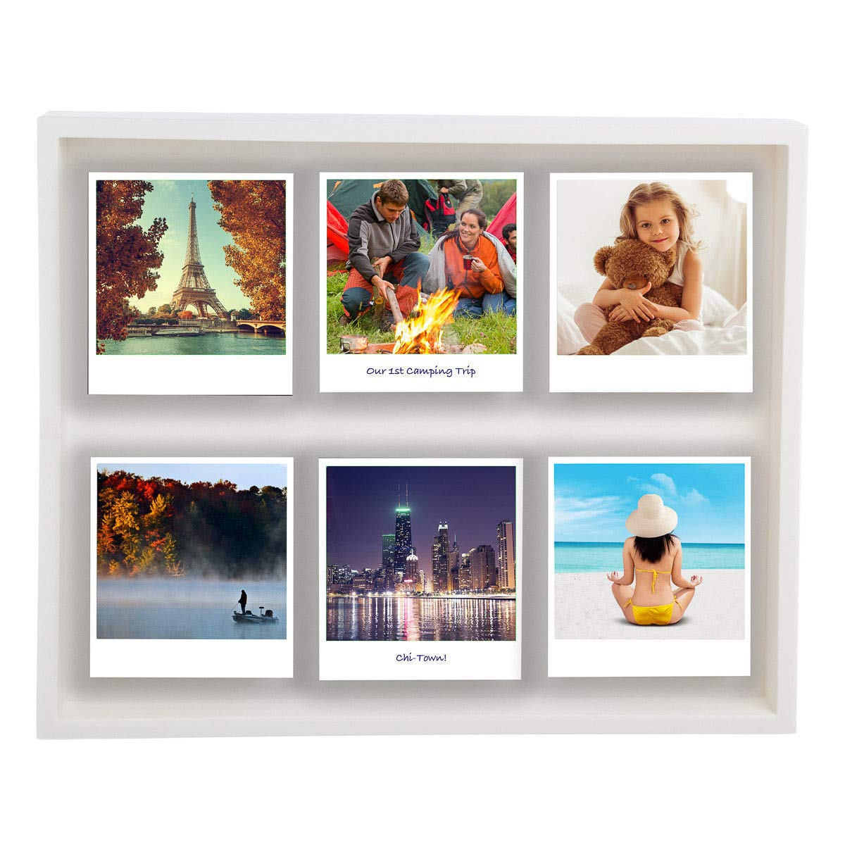 DN_DEA Wonderful Shadow Box Magnetic 12 x 10'' Polaroid Photo Frame Holds 6 Pictures Photographs Color White