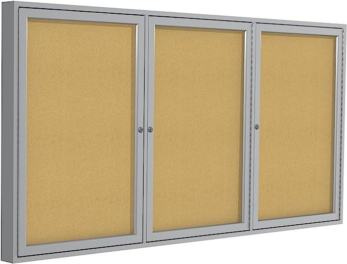 36H x 48W Push-Pin Outdoor Enclosed Bulletin Board Caramel Vinyl