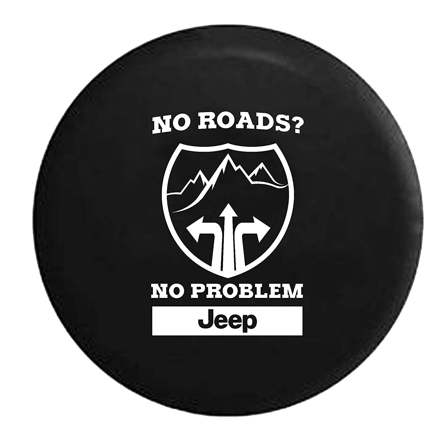 No Roads No Problem Jeep Spare Tire Cover OEM Vinyl Black 34-35 in American Unlimited Gear 4350440361