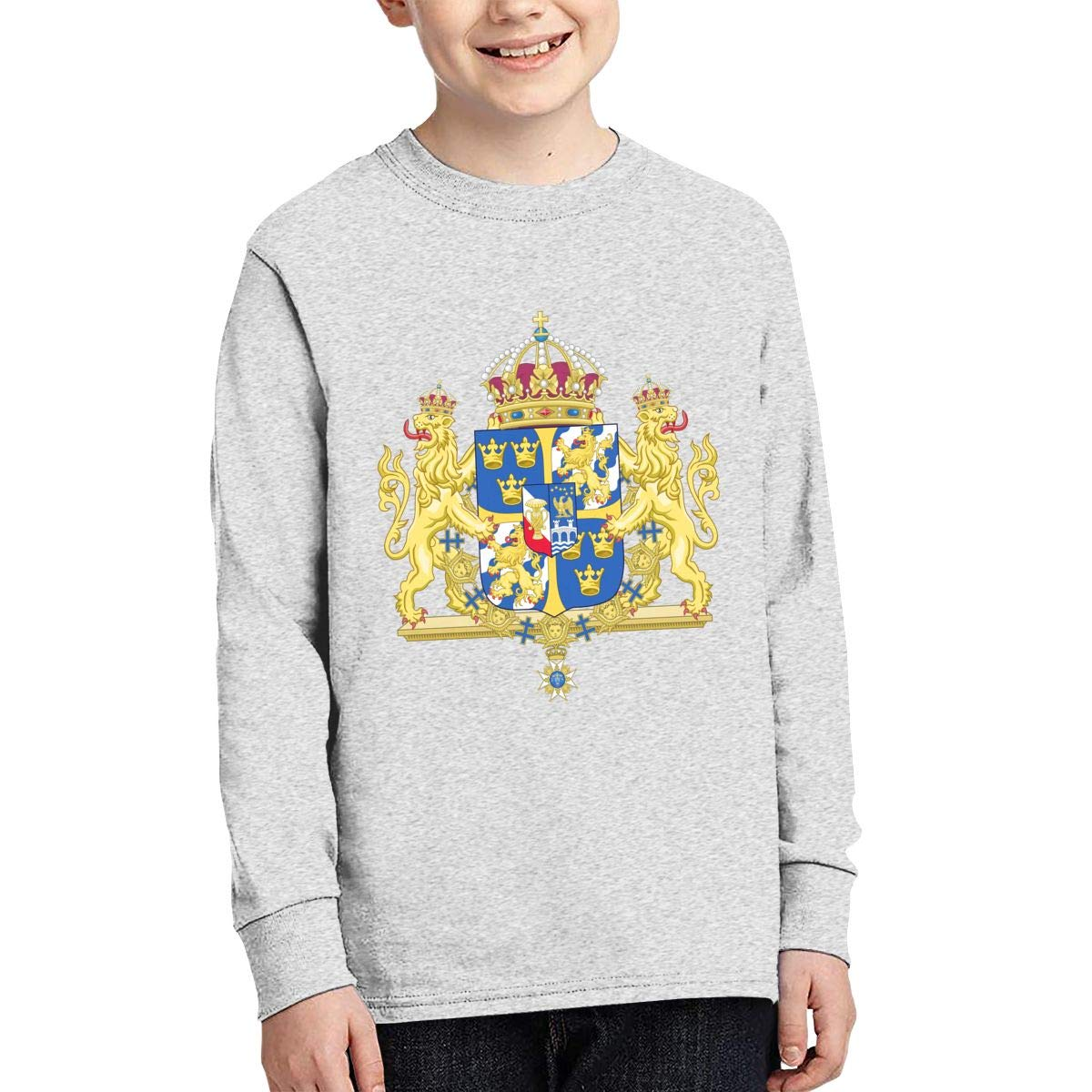 X-JUSEN Youth Coat of Arms of Sweden National Emblem Long Sleeve Cotton T-Shirts Blouse Tee Top