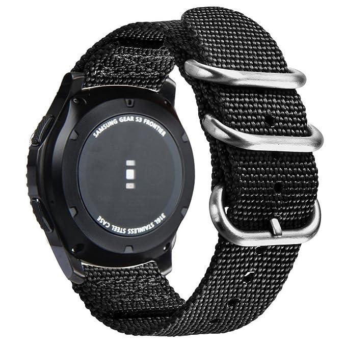 V-MORO Samsung Gear S3 Frontier Classic Correa Deportiva, 22mm Nilón Reemplazo de Banda tipo Brazalete para Reloj Samsung Gear S3 Smart Watch (Negro)