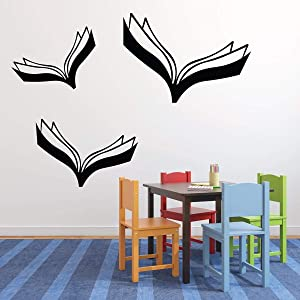 Book Wall Decals - Flying Books Reading Themed Decor - Peel and Stick Removable Vinyl Sticker for Home, Playroom, Library or Classroom