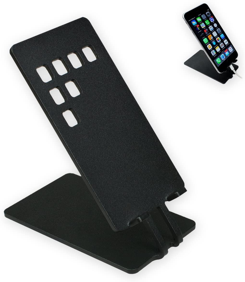 ArtsOnDesk Modern Art Cell Phone Stand//Holder Bk305 Steel Black-Specially Designed to Solve Tipping Over Problem When Typing Compatible for All iPhones Samsung iPad Gift