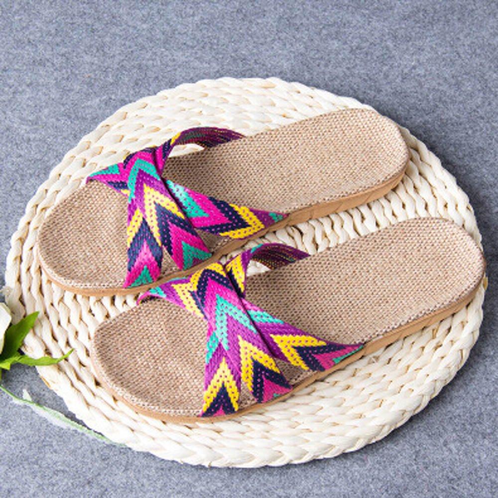 ❤Loveso❤ Damen Leinen Hausschuhe rutschfest Dusch /& Badeschuhe Badepantolette Badeschuhe Badeschlappen Badelatschen Strandschuhe mit Streifen
