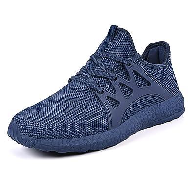 Homme Chaussures de Course Sports Fitness Gym Baskets Sneakers, Poids Léger Noir