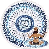 Oummit Serviette de Plage Ronde Indien Mandala Tapisserie en Coton avec Franges,Super Doux Microfibre avec Multi-usages,Parfait pour Repos sur Plage et Faire du Yoga. (Multicolore-3)