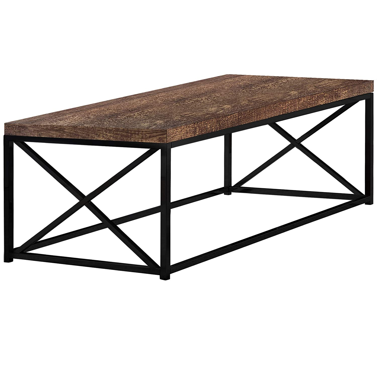 Monarch Specialties I 3416 Brown Reclaimed Wood-Look Black Metal Coffee Table,
