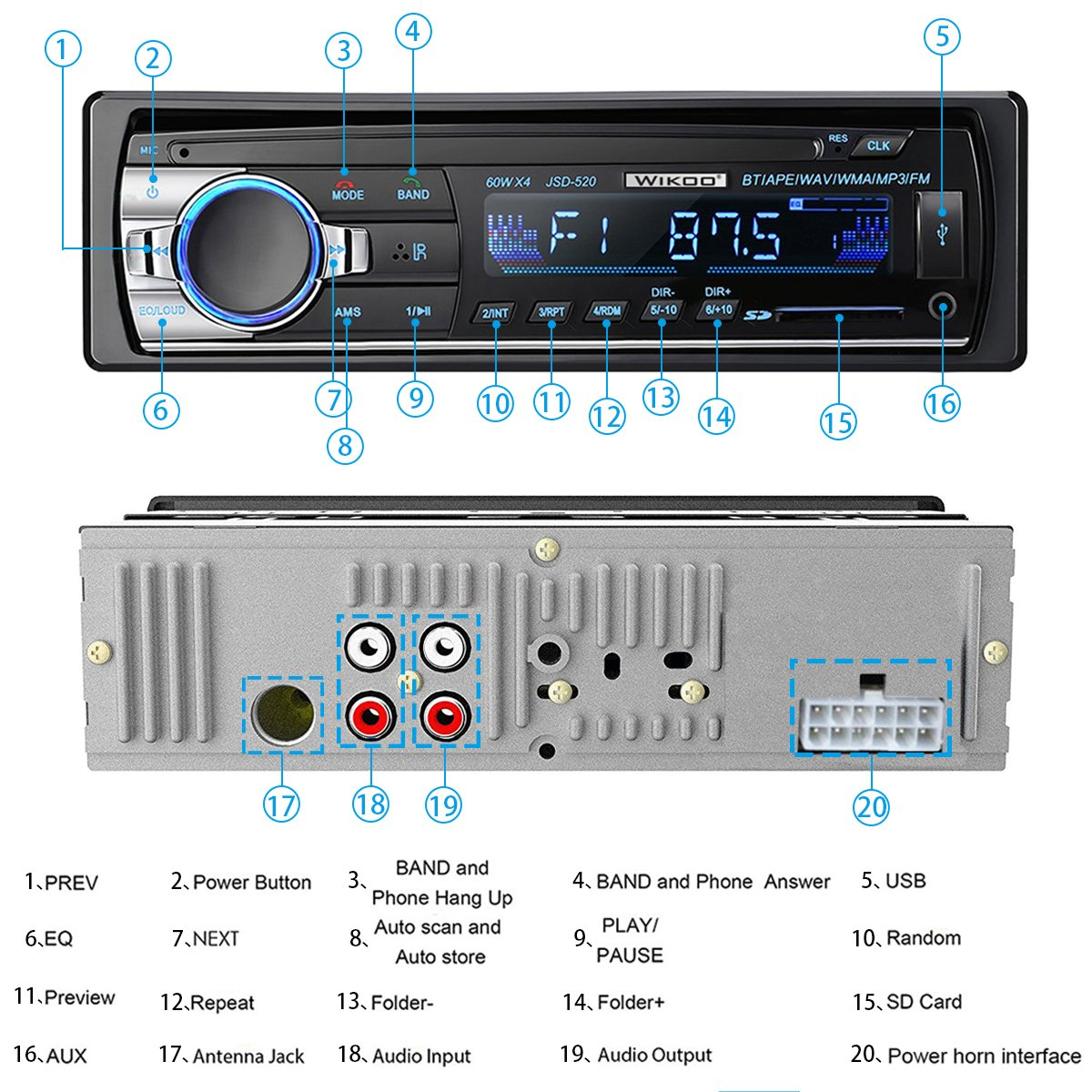 Digital Car Stereo - Wikoo Single-Din Bluetooth Car Stereo In Dash with Remote Control - Receivers USB/SD/Audio - MP3 Player/FM Radio, Supports Hands Free Calling by Wikoo (Image #4)