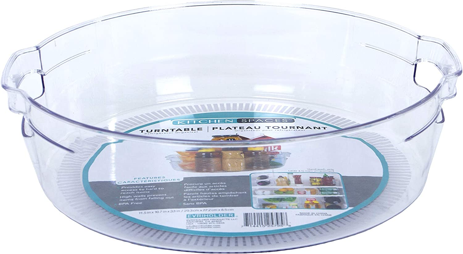 "Kitchen Spaces KSTN6-AMZ Turntable Food Storage Organizer for Fridge and Pantry, 11.5"" x 3.3"", Clear"