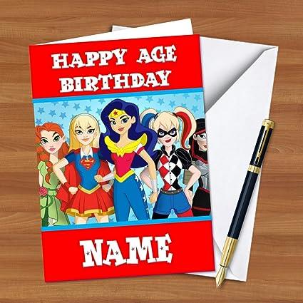 Bc204 DC Super Hero Niñas personalizable Tarjeta de ...