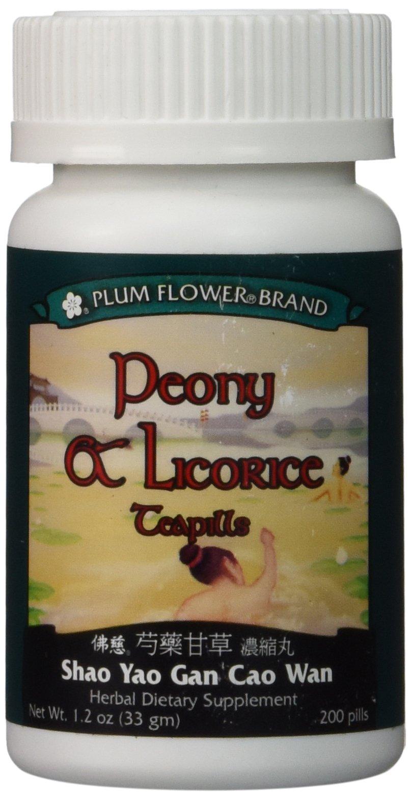 Peony & Licorice Teapills (Shao Yao Gan Cao Wan), 200 ct, Plum Flower