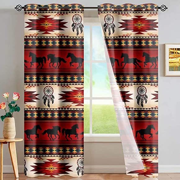 GOSTONG Aztec Ethnic Horse Curtains Thermal Blackout Curtains Window Treatment Panels