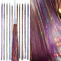 HAIR DAZZLE - Hair Accessories for Girls - Sparkle Hair Extensions (100 Strands, Hair Dazzle - Rainbow Mix)
