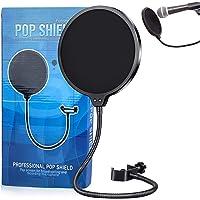 Filtros de Micrófono de Doble Capa Pantalla de Viento de Micrófono con Cuello de Cisne Flexible de 360 Grados Filtro…