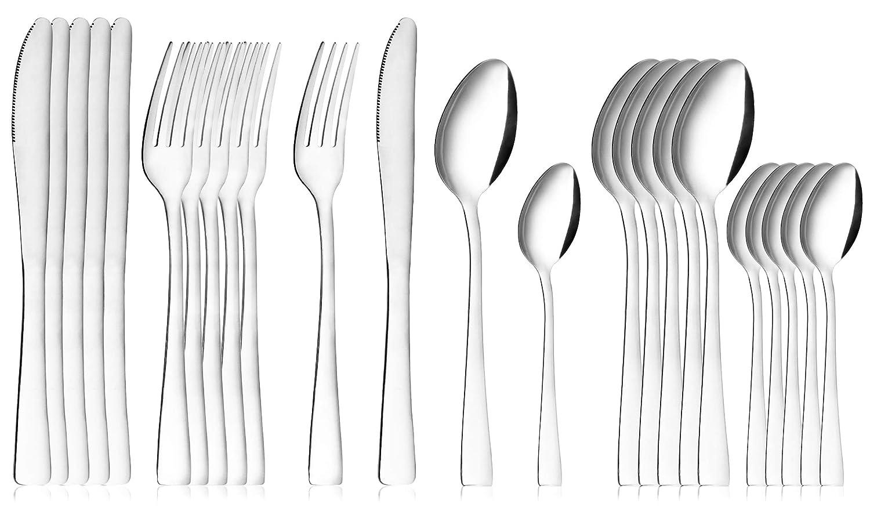 COM-FOUR® Juego de cubiertos de 24 piezas de acero inoxidable con cuchillos, tenedores, cucharas de sopa y cucharaditas para 6 personas (Set06-24 ...