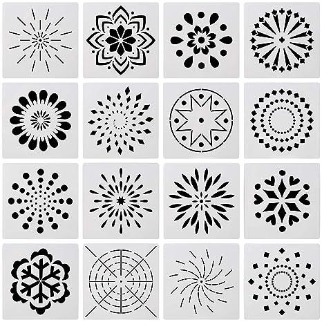 OOTSR 16 piezas conjunto de plantillas de mandala, Plantilla de pintura plástica hueca para pintar