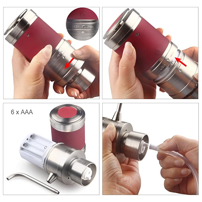Aireador de vino, Hapurs eléctrico vino y aireador de espíritu dispensador eléctrico dispositivo de succión de sobrio rápidamente el vino (plata): ...