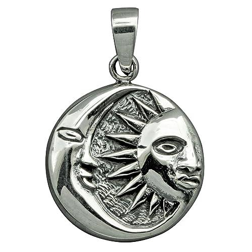 calidad asombrosa último vendedor caliente al por mayor online Colgante de plata de ley 925, diseño de sol y luna, 6 g, con ...