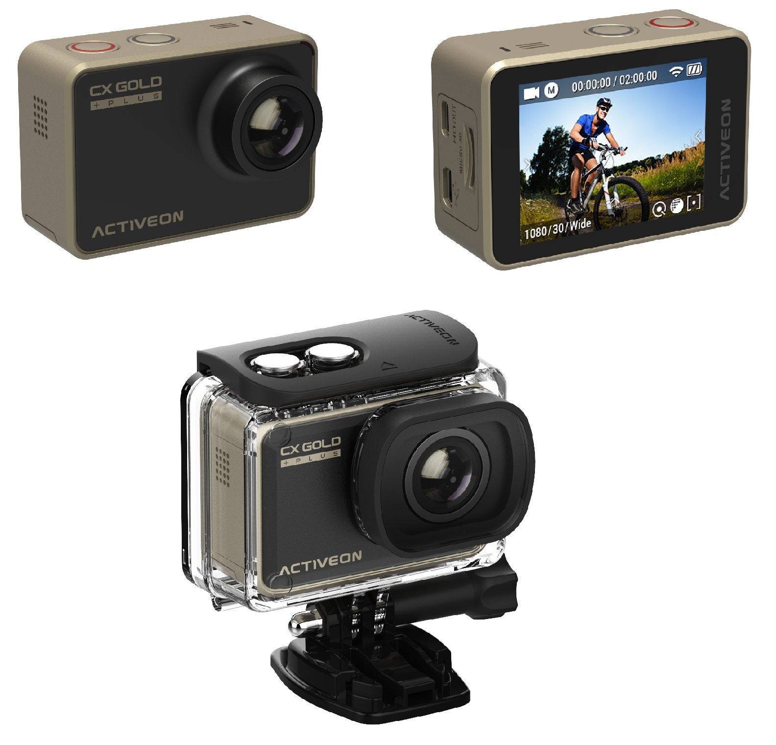 ACTIVEON 16 Waterproof CX PLUS Digital with 2'' LCD, Gold (CGB10W)